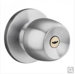 雨花泽(Yuhuaze)不锈钢球形锁 室内房门锁圆形锁卧室卫生间防盗锁具 锁边距6cm 货号100.ZD858 砂银色 锁边距60