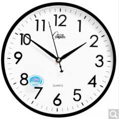 康巴丝(COMPAS)挂钟 创意时尚时钟 静音石英客厅卧室简约钟c2855 黑色 货号100.ZD863 黑色