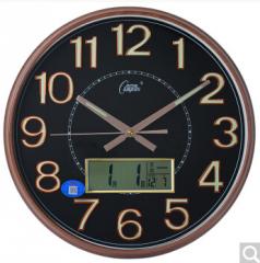 康巴丝(COMPAS)挂钟 静音现代时尚日历时钟表创意挂表电子石英钟表 C3013Y 咖木黑 货号100.ZD867 电镀黑