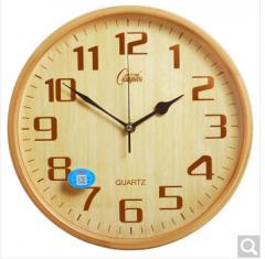 康巴丝(COMPAS) 挂钟 现代时尚创意办公时钟 客厅办公卧室静音简约石英钟 2941 竹木色C 货号100.ZD868 竹木色 A