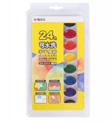 晨光(M&G)APL97619美术专用可洗半干水彩绘画固体颜料24色/盒 内赠画笔 货号100.XY28