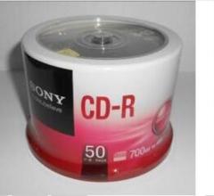 现货次日达索尼 CD-R 索尼 700MB/48X(50片筒装) 银色 一次性刻录光盘  货号100.X895