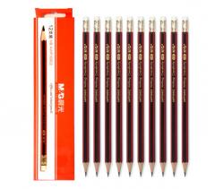 现货次日达 晨光HB木杆铅笔六角红黑抽条AWP30802 货号100.D23
