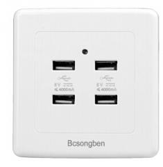 86型4口USB插座带开关面板36V电压  货号100.H165