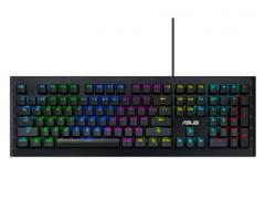 华硕(ASUS)GK1100 幻彩背光RGB 机械键盘 青轴配备 耐磨损 货号100.W1