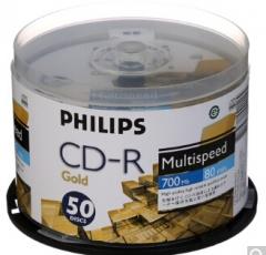 飞利浦(PHILIPS)CD-R 52速 700M 黄金版面 桶装50片 刻录盘 货号:100.ZL