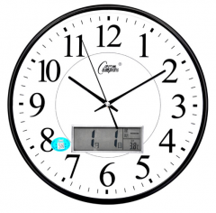 康巴丝(COMPAS)挂钟 静音现代时尚日历时钟表创意挂表电子石英钟表 2901Y 黑白色 货号100.S1500