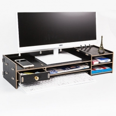 电脑显示器增高架子Z02亮黑木色支底座屏桌面收纳盒键盘整理置物架 货号100.hc40