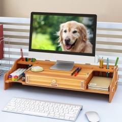 电脑显示器屏增高架Z01樱桃木色桌面收纳盒支架键盘整理置物架 货号100.hc43