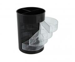齐心(COMIX)塑料多功能笔筒 商务办公用笔筒 收纳筒 B2101 黑色 多功能笔筒 货号100.SQ171