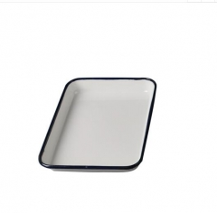 双鹿白色加厚型搪瓷方盘消毒方盘医院盘子大号长方形盘无盖盘 20*30 货号100.MZ