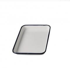双鹿白色加厚型搪瓷方盘消毒方盘医院盘子大号长方形盘无盖盘 25*30 货号100.MZ