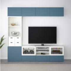 宜家BESTÅ 贝达 电视组合柜 240厘米x40厘米x230厘米 白色/深蓝色/透明玻璃
