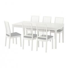 宜家 EKEDALEN 伊克多兰 一桌六椅 180厘米/240厘米x90厘米x75厘米 白色/淡灰色