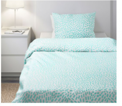 宜家SOMMAR 索玛 被套和枕套 150厘米x200厘米 白色/天蓝色