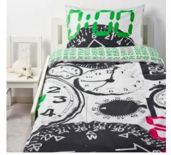 宜家TITTAPÅ 泰特伯 儿童被套和枕套 150厘米×200厘米 白色/黑色