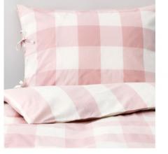 宜家EMMIE RUTA 艾米陆塔 被套和枕套 150厘米×200厘米 淡粉红色/白色