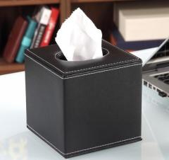 享乐居皮质纸巾盒 抽纸盒餐桌纸抽盒子 创意欧式家用车用客厅茶几桌面收纳 纯黑色正方形 货号100.MZ