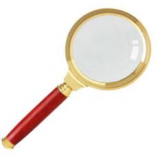 得力(deli)金属放大镜 全铜边红木手柄 放大镜 9095 镜片直径50mm 货号100.S1544