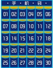 索普拉 手机收纳袋挂袋壁挂 班级学生手机袋子布袋教室门后墙挂式 绿色数字款30格 货号100.MZ