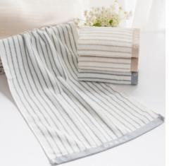 洁丽雅(Grace)毛巾家纺 经典条纹系列纯棉强吸水毛巾6450A 货号100.SQ230 棕色