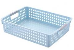 浪漫符号 简约长方形收纳篮桌面文件收纳筐塑料篮子浴室厨房化妆品置物篮 大号蓝色 货号100.MZ