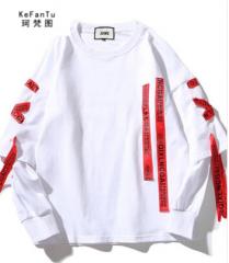 珂梵图红色长飘带子宽松t桖衣服运动男士长袖T恤货号100.HW013