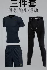 李宁运动套装黑色三件套=短袖+短裤+健身裤 L(175)货号100.HW