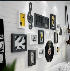 天天1号 钢琴艺术教室装饰画音乐吧唱吧挂画实木创意墙画儿童卧室壁画组合 黑白两色 货号100.MZ