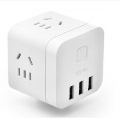 公牛(BULL) GN-U303UW 无线魔方USB插座 插线板/插排/排插/接线板/拖线板 3USB接口+3插孔 货号100.MZ