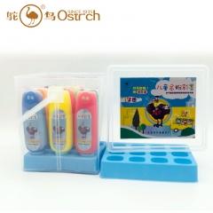 鸵鸟12色儿童金粉彩墨提盒1瓶100g 1盒12瓶 1箱*12盒   货号100.yt295