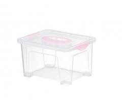 Jeko玩具桌面零食文具收纳便携储物箱塑料透明小号手提式收纳盒2.5L 货号100.MZ