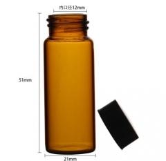 华鸥 棕色样品瓶 小样瓶 透明瓶 试剂瓶 留样瓶 玻璃瓶 带盖 棕色10ML 100只/盒 货号100.MZ