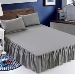 格灵雅(Gelingya)涤纶床罩保护单件床裙式1.5米银灰 床裙单件1.5mx2.0m 货号100.MZ