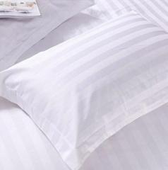 火烈鸟 白色三公分缎条纯棉枕头套床上用品枕套 1个 60支全棉加密缎条枕套 货号100.MZ