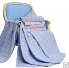 富安娜 家纺圣之花纯棉毛巾毯办公室毛毯午睡毯 休闲毛巾被 优雅人生1.5*2m 蓝 货号100.JQ52