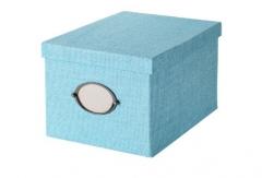 宜家 KVARNVIK 卡恩维克 附盖储物盒 25厘米x35厘米x20厘米 蓝色