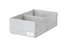 宜家 STUK 斯图克 储物盒带格 20厘米x34厘米x10厘米 白色/灰色