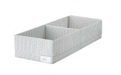 宜家 STUK 斯图克 储物盒带格 20厘米x51厘米x10厘米 白色/灰色