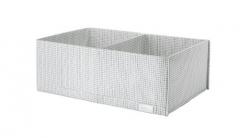 宜家 STUK 斯图克 储物盒带格 34厘米x51厘米x18厘米 白色/灰色