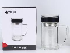 特美刻(TOMIC)玻璃杯 双层带手柄茶杯男女士水杯100.ZH