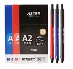 晨光 W3002 按动圆珠笔签字笔顺滑中油笔 0.7mm    (32红8黑) 40支/盒   XH.176