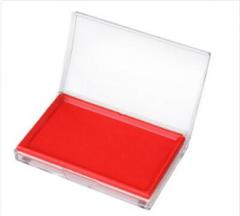 得力(deli)9864 方形透明外壳快干印台(红色)  货号100.XH317