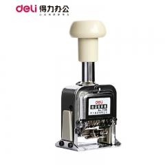得力7506自动号码机6位 数字日期印金属打号器黑 色可加墨      XH.024