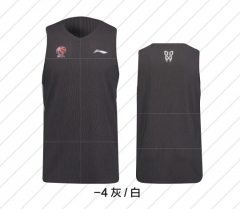 李宁 篮球比赛服男士背心速干凉爽篮球服AAYM159-4 灰/白   S     TY.666