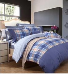 富安娜家纺 床上用品四件套纯棉套件床单被套 中性格子条纹单双人1米8床(230*229cm)蓝色 货号100.JQ625