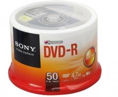 SONY 索尼 原装行货 dvd刻录盘 光盘 空白光盘 4.7G 16X DVD-R(50片桶装)货号100.SQ1465