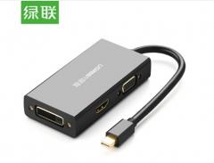 绿联(UGREEN)苹果4K Mini DP转HDMI/VGA/DVI三合一转换器 迷你Displayport雷电接口Mac接投影仪 黑色 20418 货号100.SQ1496
