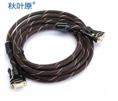 秋叶原(CHOSEAL) HS0005 秋叶原VGA(3+6)带屏蔽网带磁环5米线 货号100.SQ1505