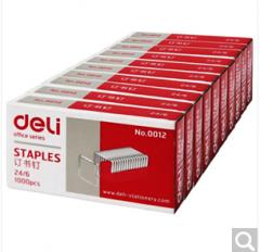 得力(deli)0012 高强度订书钉12# 1000枚/盒   10盒装   货号160.DL-S